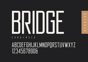 Condensed regular retro sans serif. Vector typefaces, uppercase