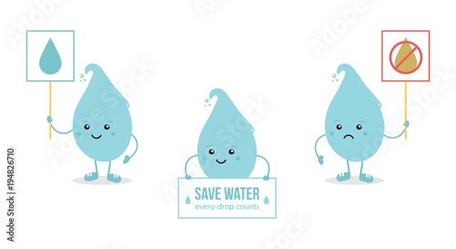 Set collection of cartoon doodle water characters Collect and save