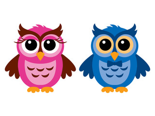 Funny owls, girl and boy, vector illustration, isolated on white.
