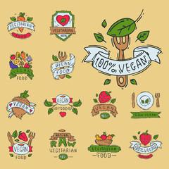 Hand drawn style of bio organic eco healthy food label vegan vegetable vector illustration vegetarian natural farm sign.