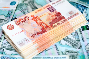 Russian ruble bills. Stack of money