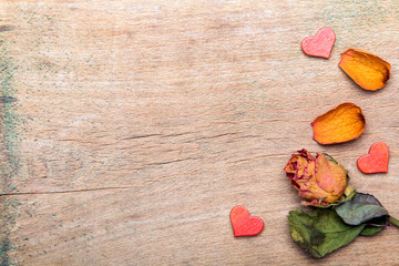 Dried orange roses on old wooden background, copy space