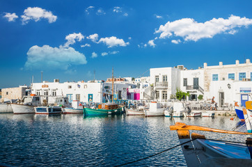 NAOUSA TOWN, PAROS ISLAND, GREECE, JULY 2017: Naoussa village in the island of Paros, Cyclades is one of the most beautiful summer destinations in Geeece