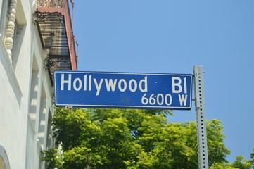 Signposts Of Hollywood Boulevard On The Walk Of Fame In Hollywood Boluvedard. July 7, 2017. Hollywood Los Angeles California. USA. EEUU