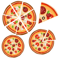 Set of icons with pizza (whole and pieces) on a white background.