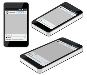 Smartphone is in three different positions (frontal, isometric and perspective) with a social network photo frame on a white background. Decorative template framework.