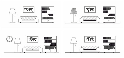 Living room graphic icon pattern