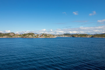 The city of Kristiansund, Norway. Kristiansund is a city and municipality in the Nordmore district on the western coast of Norway.