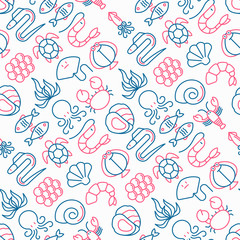 Seafood seamless pattern with thin line icons: lobster, fish, shrimp, octopus, oyster, eel, seaweed, crab, ramp, turtle. Modern vector illustration for restaurant menu.