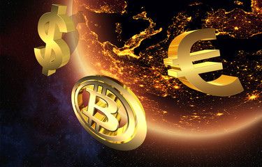 Golden currency logos: Euro, Dollar and Bitcoin in space - the idea of global currency trading
