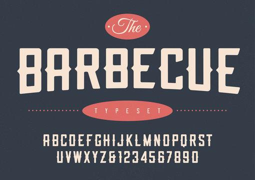 Vector condensed retro display font design, alphabet, character