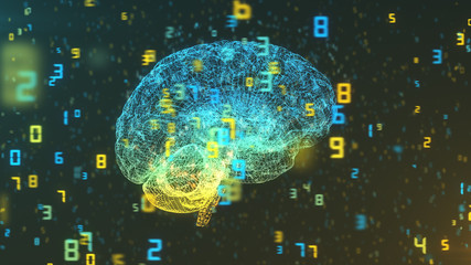 Digital computer brain 3D render floating in right profile view with numerical information background illustrating the concepts of Big Data and artificial intelligence