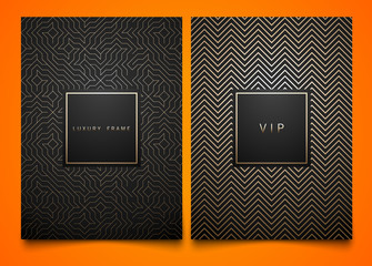 Vector set black packaging templates with different golden linear geometric pattern texture for luxury product. Trendy design for logo. Square frame.