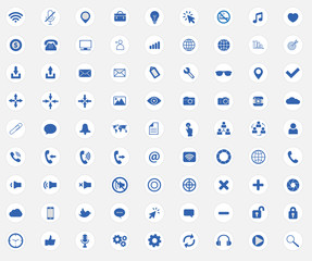 Web icons with flat media sings