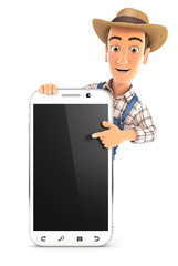 3d farmer pointing to blank smartphone