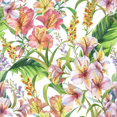 Hand drawn colorful seamless pattern with watercolor banana leaves, exotic plants and alstroemeria flowers. Summer repeated background