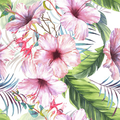 Hand drawn colorful seamless pattern with watercolor palm leaves, exotic plants, fuchsia flowers and hibiscus flowers. Summer repeated background