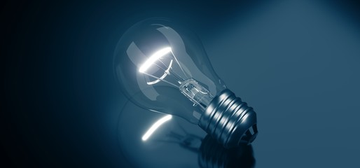 3D Rendering Of Single Lighted Classic Glass Bulb On Dark Gradient Background Closeup