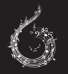 Music note background with music symbol icon collection