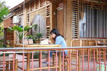 The woman traveling in Hang Mua,Tam coc, Ninh Binh,Vietnam