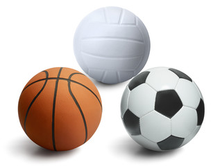 Volleyball. ball and basketball isolated on a white background