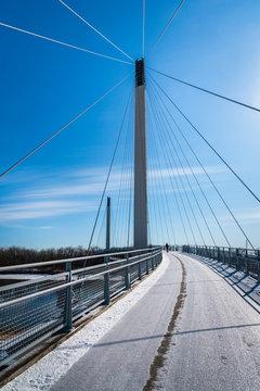 Walking across the Bob Kerry Pedestrian Bridge between Omaha, Nebraska and Council Bluffs, Iowa