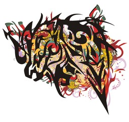 Grunge tribal monster-horse splashes. Splattered aggressive peaked monster- horse head against the background of colorful decorative elements, red wings and arrows