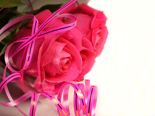 Bouquet of flowers. dark pink roses.