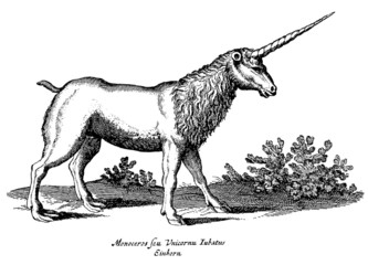 Unicorn in profile view standing in a landscape with bushes isolated on white background. Illustration after a vintage woodcut engraving from the 17th century