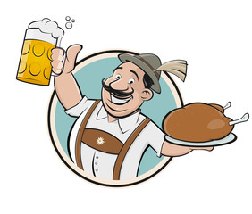 bavarian man with beer and chicken sign