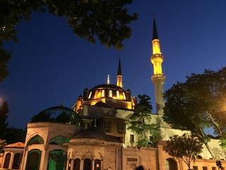 Eyup Sultan mosque at night. Eyup Sultan mosque in Istanbul, Turkey. Historical Ottoman mosque in Istanbul.