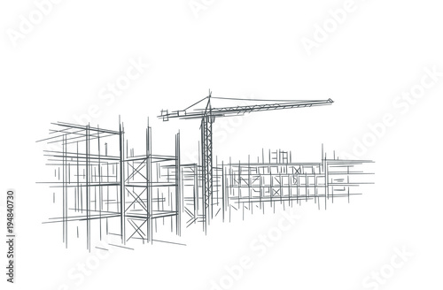 Construction site line sketch, hand drawn, vector.\