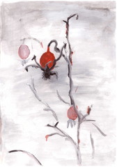 Figure gouache on a white sheet: rose hips on the snow.