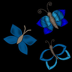 Embroidery stitches imitation butterfly patches on the black background