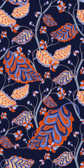 Vector Colourful Oriental Botanical Vector Repeat Pattern