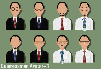 Businessman Avatar with Variation of necktie ,shirt,eyeglasses and suit.Characters are based on Egg head with Middle Part hair style.and Strawberry head with  Middle Part hair style