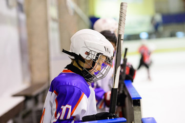 Kids ice hockey.