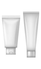 Set of realistic cosmetics bottles isolated on white background