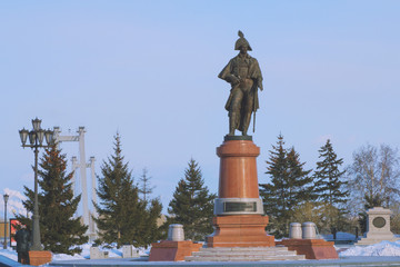 sculpture of military officer in winter Park