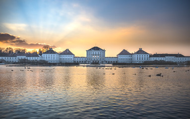 Dramatic scenery of Nymphenburg palace in Munich Germany