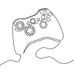 One continuous line joystick Outline vector