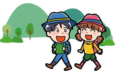 ハイキングに行く子供のイラスト