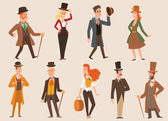Vintage victorian cartoon gents retro people vector. Style fashion old people victorian gentleman clothing antique century character victorian gent people vintage wild west man and woman style