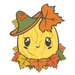 Cute vector melon character in hat isolated on white background. Ripe melon in autumn leaves, illustration for children. Colorful autumn foliage. Cartoon melon with amusing face, autumn harvesting.