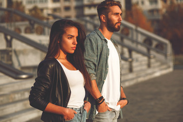 Young couple posing in the city Wall mural