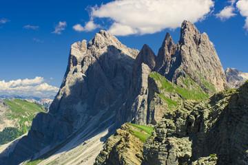 beautiful alpine landscape in Seceda Odle mountain, Italy Dolomites