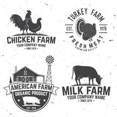 Chicken Farm Badge or Label. Vector illustration.