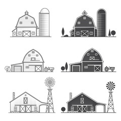 Set of thin line american farm icon.
