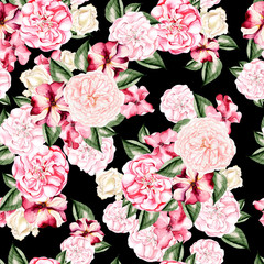 Beautiful watercolor pattern with flowers rose, peony and petunia flowers.