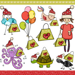 Christmas green shopping bag set digital elements